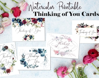 Watercolor Printable Thinking of You Cards