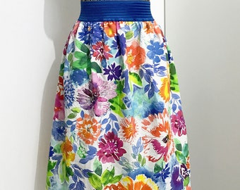 Floral ruffle skirt with elastic waistband flowers
