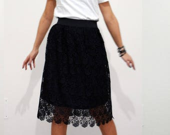 Macrame lace lined pleated skirt ceremony Limited Edition-elasticized waist