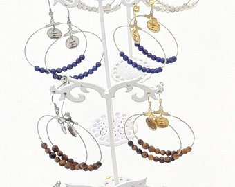 12 stones of your choice - Silver or gold inoxidable steel - Light Creole earrings in Gems Natural Stones - Women's Gift Idea