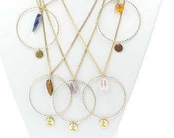 6 stones to choose from necklace circle and Steel Inoxidable golden or silver - Natural Stones Gems - Idea Gift Woman