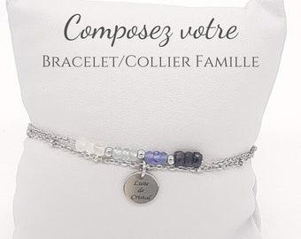 Composez votre Bracelet/Collier Famille avec vos PIERRE DE NAISSANCE® Bracelet en Pierres Naturelles 4mm et Acier Inoxydable Argenté ou Doré