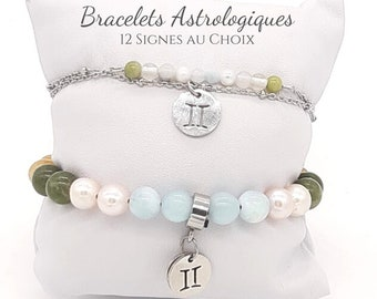 Bracelet Signe Astrologique en Pierres Naturelles - Acier Inoxydable - Avec ou sans Fiche explicative - 12 Signes au choix