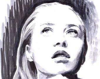 Fiona Apple original sketch portrait - marker illustration expressive drawing portrait of Fiona Apple