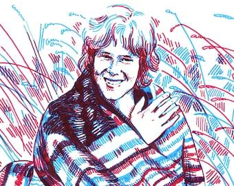 Nick Drake original portrait - two color expressive sketch illustration a4 size drawing portrait of singer songwriter Nick Drake