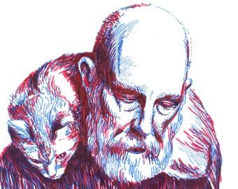 Edward Gorey duotone sketch original portrait - expressive illustration a4 size drawing portrait of american writer and artist Edward Gorey
