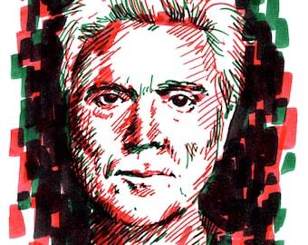 David Byrne from Talking Heads duotone sketch portrait - marker illustration expressive drawing portrait David Byrne