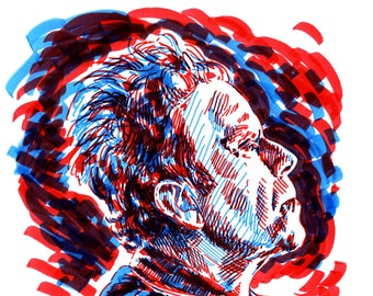 Tom Waits duotone sketch portrait - two color expressive illustration a4 size drawing portrait of Tom Waits