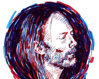 Radiohead Thom Yorke original portrait - two color expressive sketch illustration a4 size drawing portrait