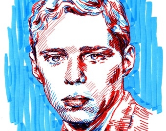 Serious Chico Buarque original sketch portrait - two color expressive illustration a4 drawing portrait of Chico Buarque from the album cover
