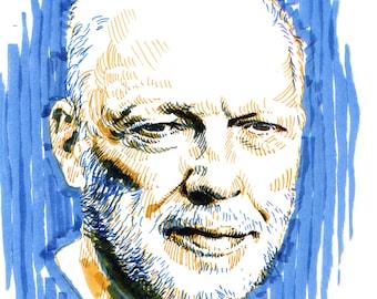 David Gilmour (Pink Floyd) duotone sketch original portrait - two color expressive illustration a4 size drawing portrait of David Gilmour