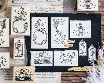 Vintage Cartoon Little Prince wood stamp/ rubber stamp/ stamps for scrapbooking / diary / art journal/ junk journal/ Le Petit Prince