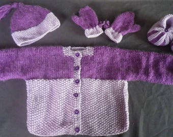 Vest with the pumpkin Hat booties and mittens set
