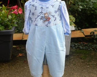 3-month-old sky blue overalls