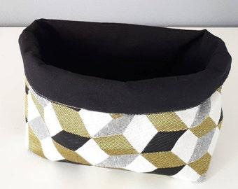 Petit panier tissu noir et jaune geometrique