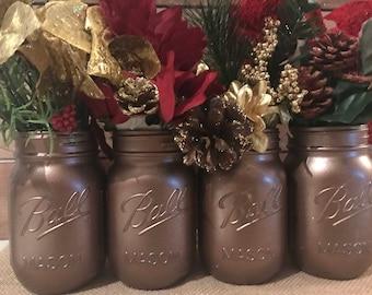 Set of 4 Hand Painted Ball Mason Jars