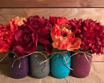 Set of 4 hand painted & distressed Ball Mason Jars
