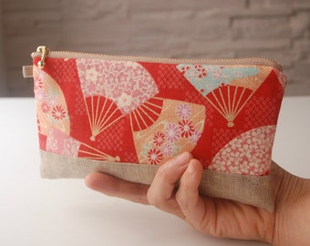 """Kit with fabric Japanese Red """"fan"""" pattern"""