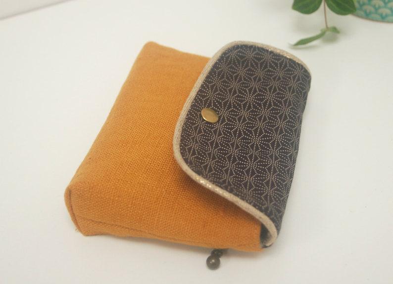card holder pattern Asanoha Wallet Hemp leaf -marine blue and caramel brown