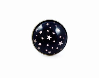 Large ring bronze * Cabochon * I am a Princess - pink stars