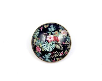 Bronze - cabochon - tropical flowers brooch