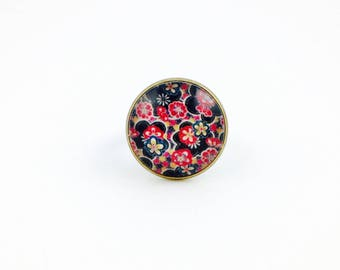 Bronze ring - Cabochon - beautiful Japanese flowers
