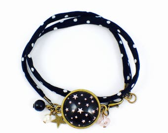 Black fabric bracelet with white polka dots - Cabochon I'm a Princess
