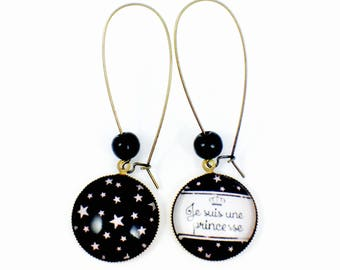 Long bronze earrings * cabochon * I am a Princess - pink stars