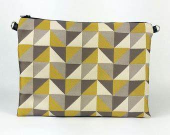 Pochette jacquard motif géométrique jaune