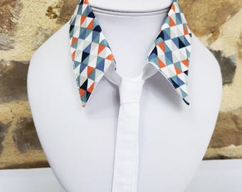 Neck tie removable white and blue tone multi color triangle