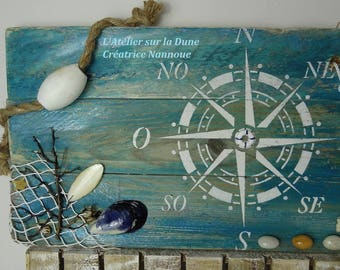 "Decorative Panel ""Mariner's Compass"" green background"