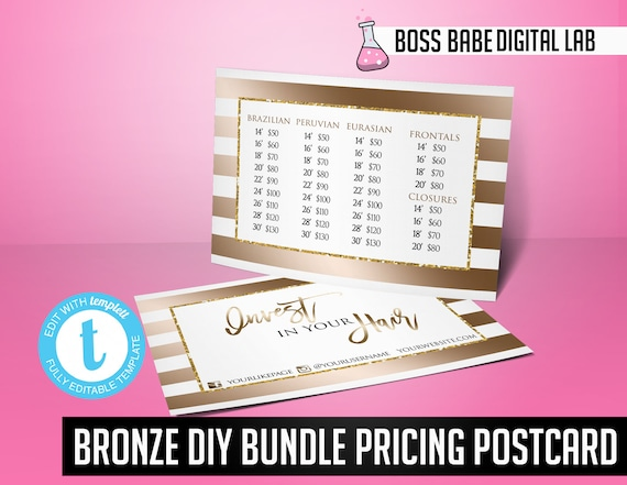 bronze hair bundle pricing flyer hair bundles pricing flyer etsy