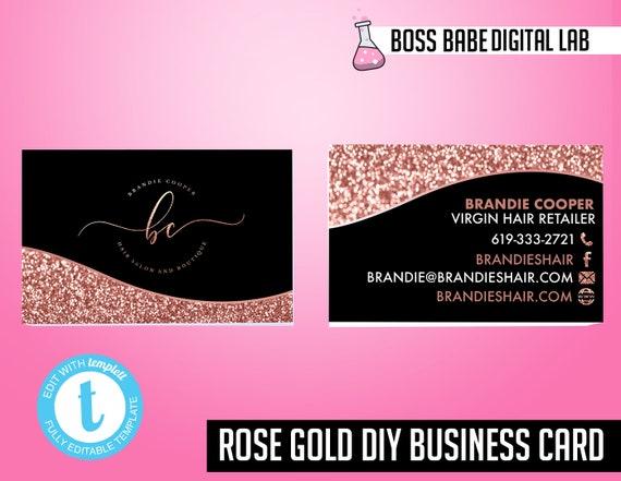 Diy Rose Gold Business Cards Rose Gold Hair Bundle Business Cards Hair Care Business Cards Rose Gold Hair Extension Business Cards