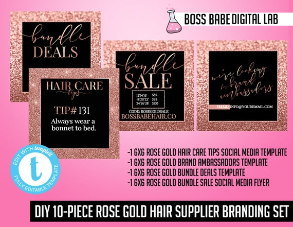 Diy 10 Piece Rose Gold Hair Bundle Branding Kit Rose Gold Hair Bundles Branding Hair Bundle Flyer Hair Bundle Hang Tag Hair Bundle Wrap