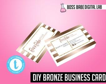 DIY Bronze Business Cards, Bronze Hair Bundle Business Cards, Hair Care Business Cards, Bronze Hair Extension Business Cards