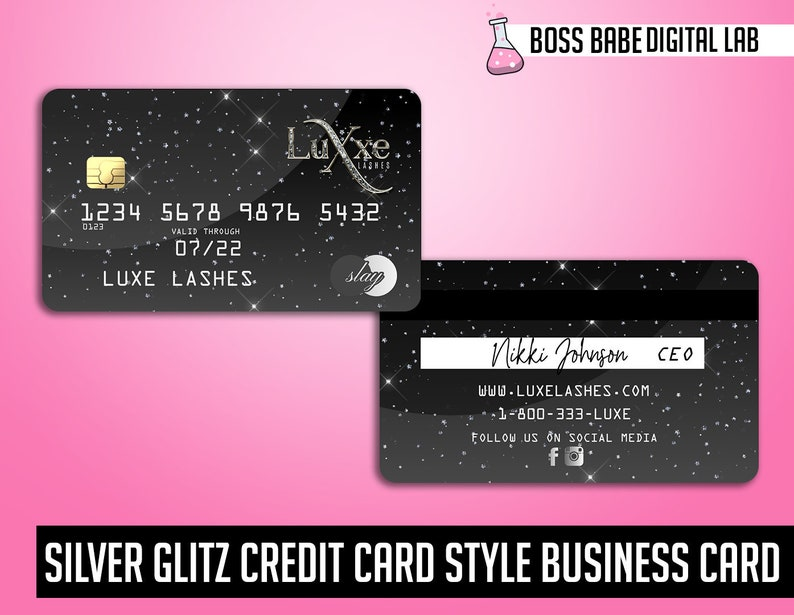 diy silver credit card business cards silver glitter