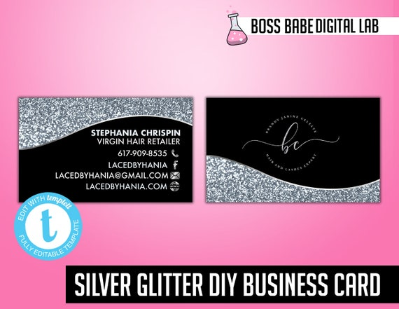 Diy Silver Business Cards Silver Glitter Hair Bundle Business Etsy