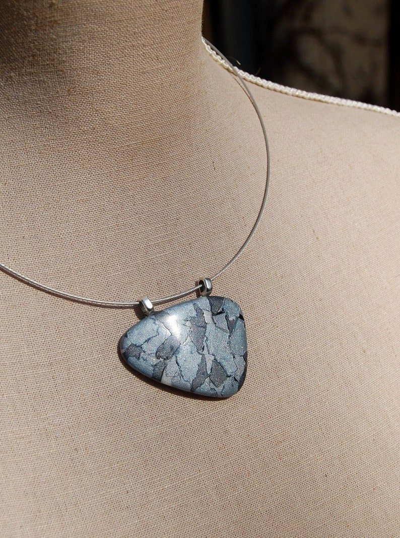 mosaic blue grey gray hematite original elegant pattern unique piece Pendant necklace polymer clay