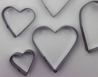 5 cookie cutters hearts polymer clay in stainless steel