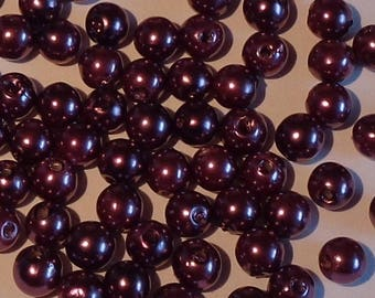 100 purple round beads