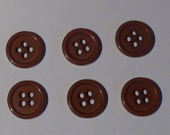 6 flat Brown acrylic buttons