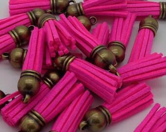 Suede pompom 35mm Pink Fluo/Bronze