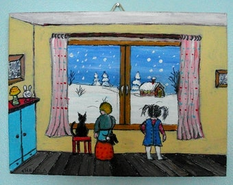 """Painting """"children looking out window snow"""""""