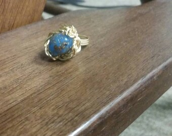 Spotted Blue Egg in the Nest Wire Wrapped Ring