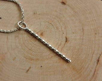 Bar pendant, drop pendant, silver pendant, handmade silver pendant, minimal style, gift for her, everyday jewelry, jewelry gift, diamond cut
