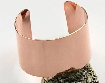 Wide copper cuff bracelet hand forged polished copper bracelet boho style bracelet 7th Anniversary gift statement copper cuff copper jewelry
