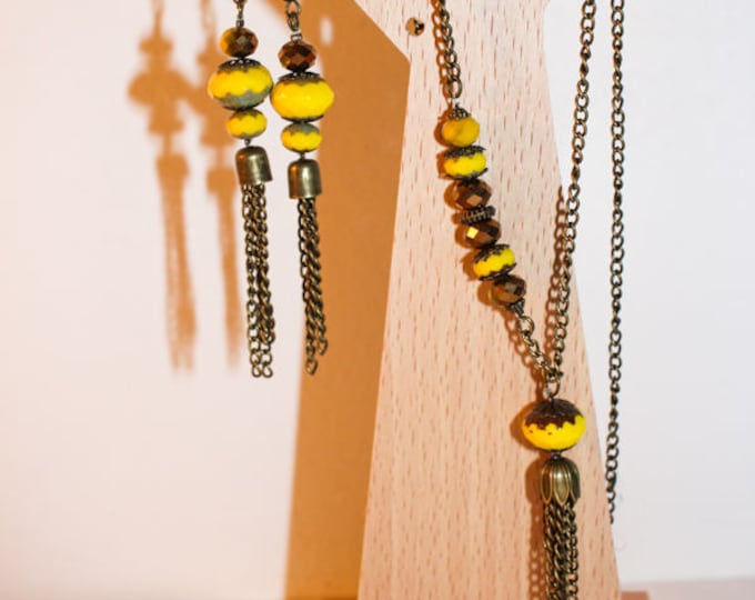 Set of necklace + earrings dangling yellow and gold ceramic beads, chain and tassel findings in brass, gift for her