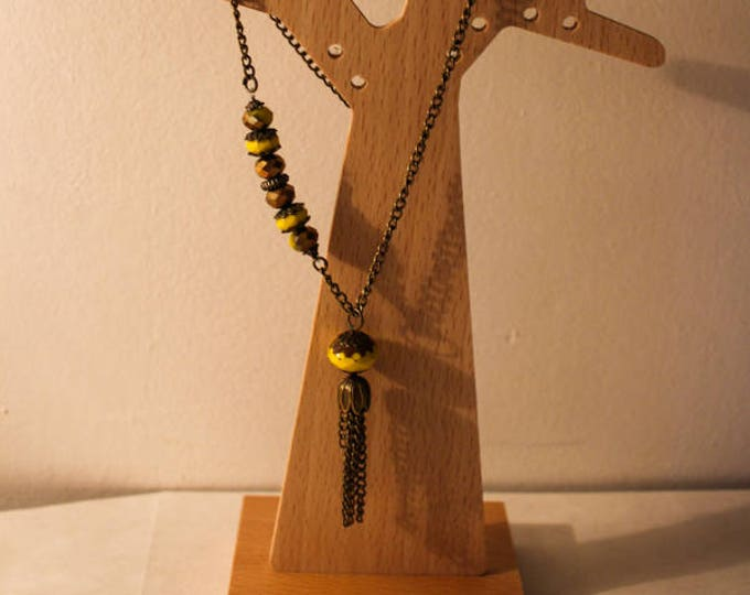 Ceramic yellow and gold, mounted on a chain in brass and tassel chain, gift for her Pearl Necklace