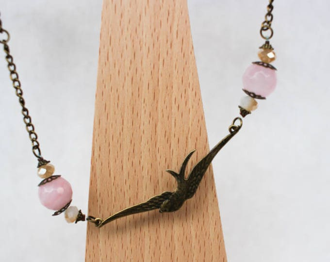 Necklace swallow with dyed agate beads old rose, findings and chain in brass, gift for her