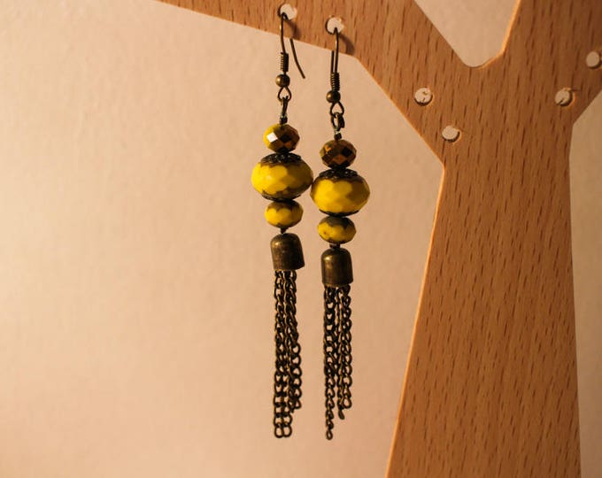 Dangling earrings in yellow and gold ceramic bead, clip and tassel chain in brass, gift for her.
